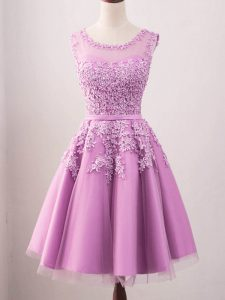 Simple Lilac Lace Up Scoop Lace Damas Dress Tulle Sleeveless