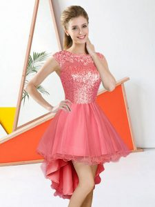 Watermelon Red Quinceanera Dama Dress Prom and Party with Beading and Lace Bateau Sleeveless Backless