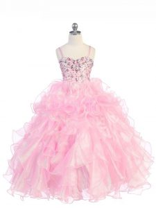 Simple Baby Pink Spaghetti Straps Lace Up Beading and Ruffles Girls Pageant Dresses Sleeveless