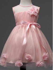 Fantastic Knee Length Pink Kids Formal Wear Scoop Sleeveless Zipper