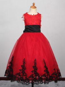 Red Ball Gowns Appliques Kids Formal Wear Lace Up Tulle Sleeveless Floor Length
