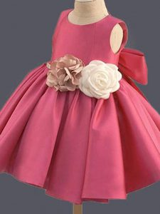 Scoop Sleeveless Taffeta Kids Pageant Dress Bowknot and Hand Made Flower Clasp Handle