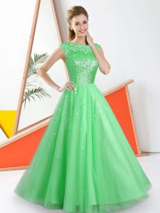Popular Green Backless Quinceanera Court of Honor Dress Beading and Lace Sleeveless Floor Length