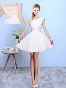 High Quality Asymmetric Sleeveless Quinceanera Dama Dress Knee Length Appliques White Chiffon