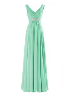 Exquisite Sleeveless Floor Length Beading Zipper Court Dresses for Sweet 16 with Apple Green