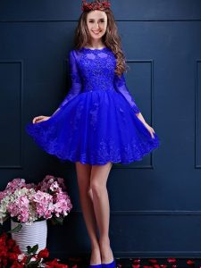 Sumptuous Blue 3 4 Length Sleeve Mini Length Beading and Lace and Appliques Lace Up Dama Dress