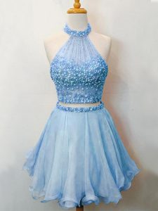 Fine Sleeveless Knee Length Beading Lace Up Quinceanera Court Dresses with Blue