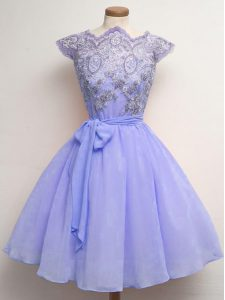 Lavender A-line Lace and Belt Quinceanera Court of Honor Dress Lace Up Chiffon Cap Sleeves Knee Length