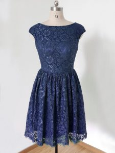 Graceful Lace Dama Dress Royal Blue Lace Up Cap Sleeves Knee Length