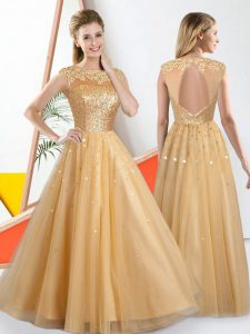 Wonderful Champagne Sleeveless Tulle Backless Court Dresses for Sweet 16 for Prom and Party