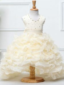 Sleeveless Organza High Low Zipper Little Girls Pageant Dress Wholesale in Champagne with Beading and Ruffles
