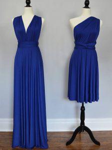 One Shoulder Sleeveless Lace Up Vestidos de Damas Royal Blue Chiffon