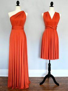 Luxury Orange Red Sleeveless Ruching Floor Length Quinceanera Court of Honor Dress