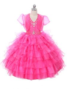 Ball Gowns Child Pageant Dress Hot Pink Halter Top Organza Sleeveless Floor Length Lace Up