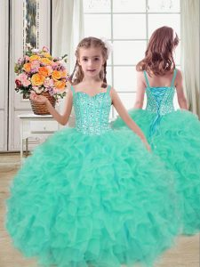 Fashion Floor Length Turquoise Pageant Gowns For Girls Straps Sleeveless Lace Up