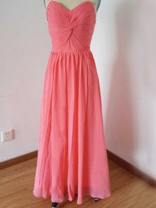 Admirable Empire Quinceanera Court Dresses Watermelon Red Sweetheart Chiffon Sleeveless Floor Length Zipper
