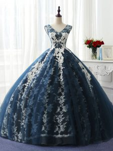 Lovely Organza and Taffeta and Chiffon and Tulle Scoop Sleeveless Lace Up Ruffles and Pattern Vestidos de Quinceanera in Navy Blue