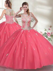Scoop Sleeveless 15th Birthday Dress Floor Length Beading Hot Pink Organza