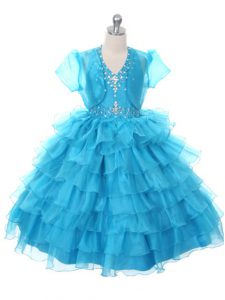 Attractive Organza Sleeveless Floor Length Little Girls Pageant Dress and Beading and Ruffled Layers and Bowknot