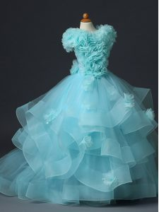 Lovely Aqua Blue Tulle Lace Up High-neck Sleeveless Floor Length Girls Pageant Dresses Ruffles and Hand Made Flower