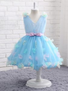 Charming Knee Length Baby Blue Little Girls Pageant Gowns Scoop Sleeveless Zipper