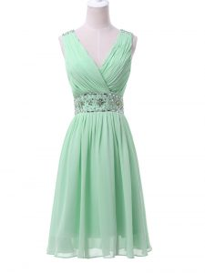 New Arrival Apple Green Chiffon Zipper Vestidos de Damas Sleeveless Knee Length Beading and Ruching