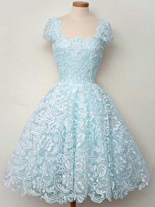 Straps Cap Sleeves Quinceanera Court of Honor Dress Knee Length Lace Aqua Blue Lace