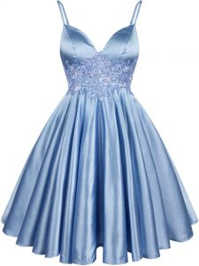 Sleeveless Lace Up Knee Length Lace Quinceanera Court Dresses