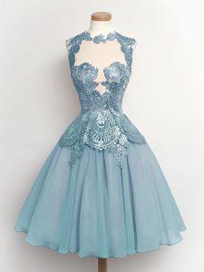 Modern A-line Quinceanera Court of Honor Dress Light Blue High-neck Chiffon Sleeveless Knee Length Lace Up