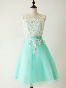Turquoise A-line Scoop Sleeveless Tulle Knee Length Lace Up Lace Quinceanera Court Dresses