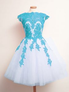 Knee Length Lace Up Quinceanera Dama Dress Blue And White for Prom and Party and Wedding Party with Appliques