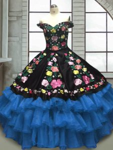 Extravagant Organza and Taffeta Sweetheart Sleeveless Lace Up Embroidery and Ruffled Layers Sweet 16 Quinceanera Dress in Blue And Black