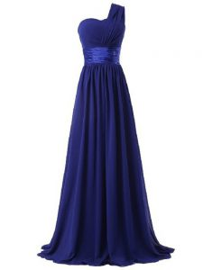 Royal Blue Sleeveless Chiffon Lace Up Quinceanera Court Dresses for Prom and Party and Wedding Party