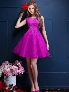 Fuchsia Bateau Neckline Beading and Lace Court Dresses for Sweet 16 Sleeveless Lace Up