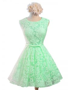 Glittering Sleeveless Knee Length Belt Lace Up Dama Dress for Quinceanera with Apple Green