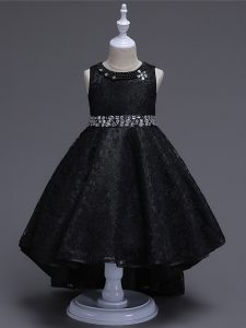 High Low A-line Sleeveless Black Little Girls Pageant Dress Lace Up