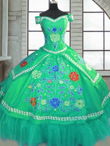 Modern Green Ball Gowns Beading and Embroidery Sweet 16 Quinceanera Dress Lace Up Taffeta Short Sleeves Floor Length