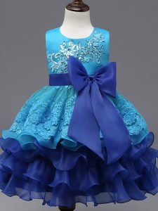 Scoop Sleeveless Organza Girls Pageant Dresses Lace and Ruffled Layers and Bowknot Zipper