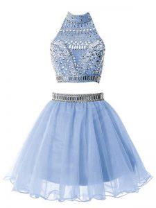 Inexpensive Light Blue Organza Zipper High-neck Sleeveless Knee Length Vestidos de Damas Beading