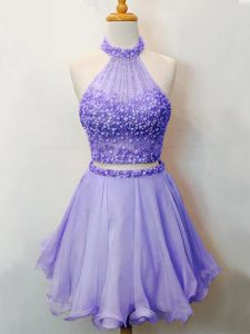 Luxurious Knee Length Lavender Quinceanera Court of Honor Dress Halter Top Sleeveless Lace Up