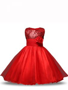 Custom Designed Knee Length Red Girls Pageant Dresses Organza Sleeveless Sequins and Hand Made Flower