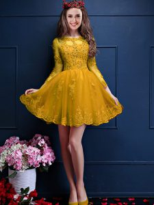 Superior Mini Length Gold Dama Dress for Quinceanera Scalloped 3 4 Length Sleeve Lace Up