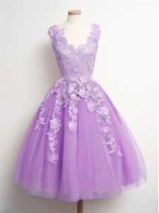 Lilac A-line Appliques Court Dresses for Sweet 16 Lace Up Tulle Sleeveless Knee Length