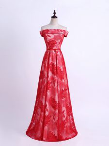 Colorful Red Off The Shoulder Neckline Pattern Damas Dress Sleeveless Lace Up