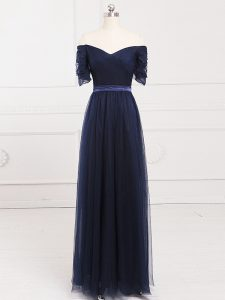 Ruching Dama Dress for Quinceanera Navy Blue Lace Up Short Sleeves Floor Length