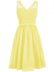 Superior Yellow Side Zipper Quinceanera Dama Dress Lace and Ruching Sleeveless Knee Length