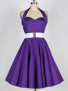 Knee Length Purple Vestidos de Damas Taffeta Sleeveless Ruching