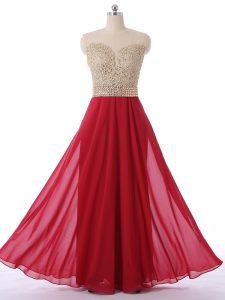 Hot Sale Red Sleeveless Floor Length Beading Zipper Quinceanera Court Dresses