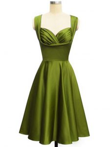Customized Knee Length Olive Green Dama Dress for Quinceanera Straps Sleeveless Lace Up