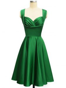 Dark Green Empire Ruching Vestidos de Damas Lace Up Taffeta Sleeveless Knee Length